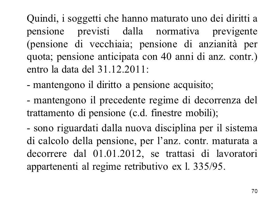 Quindi, i soggetti che hanno maturato uno dei diritti a pensione previsti dalla normativa previgente (pensione di vecchiaia; pensione di anzianità per quota; pensione anticipata con 40 anni di anz. contr.) entro la data del 31.12.2011:
