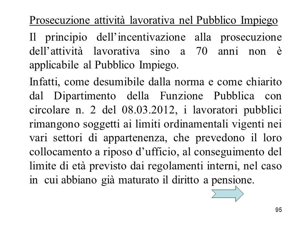 Prosecuzione attività lavorativa nel Pubblico Impiego