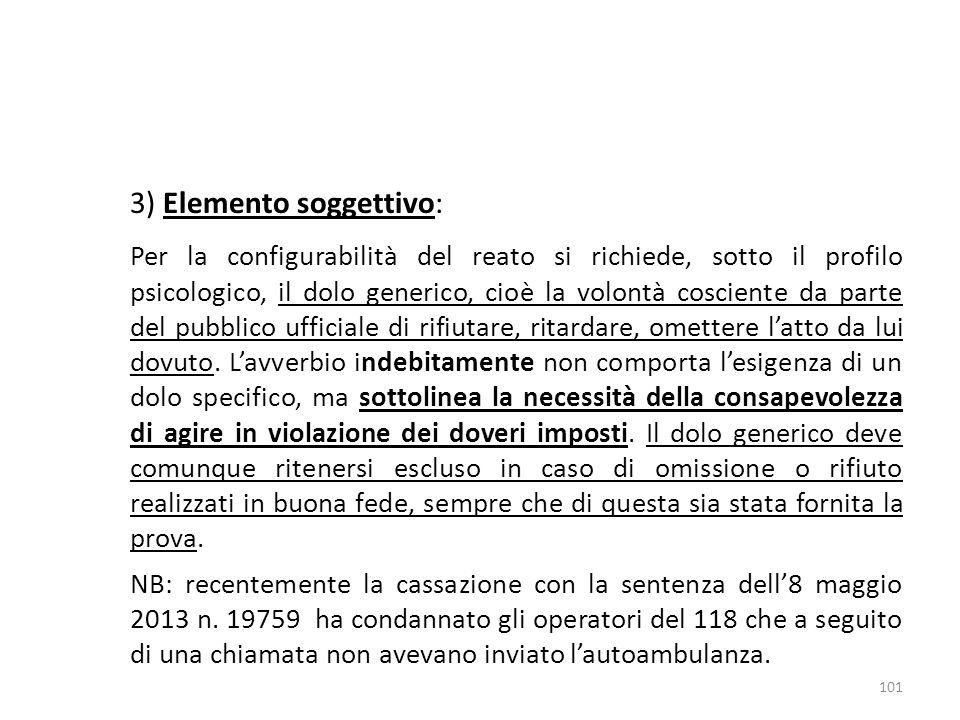 3) Elemento soggettivo:
