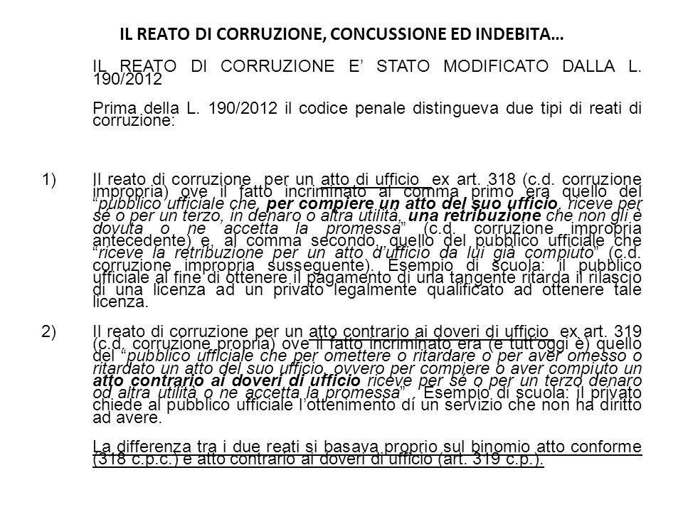 IL REATO DI CORRUZIONE, CONCUSSIONE ED INDEBITA…