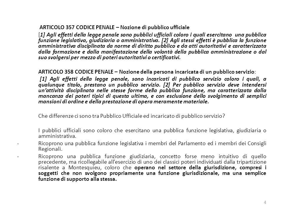 ARTICOLO 357 CODICE PENALE – Nozione di pubblico ufficiale
