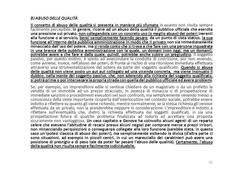 17/10/13 17/10/13. B) ABUSO DELLE QUALITÀ.