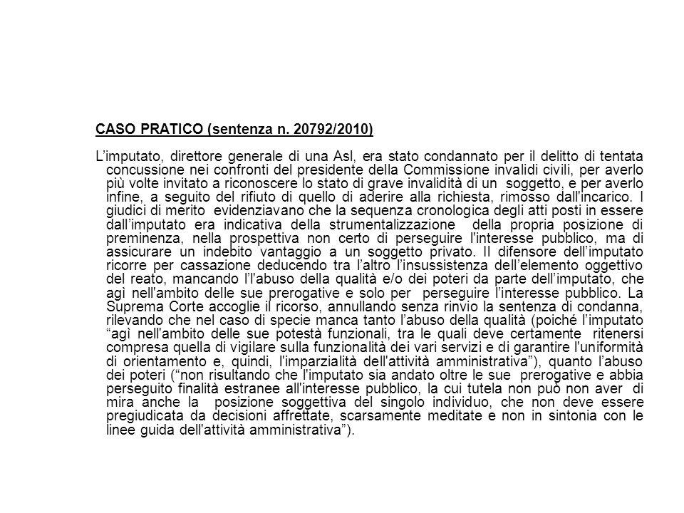 CASO PRATICO (sentenza n. 20792/2010)