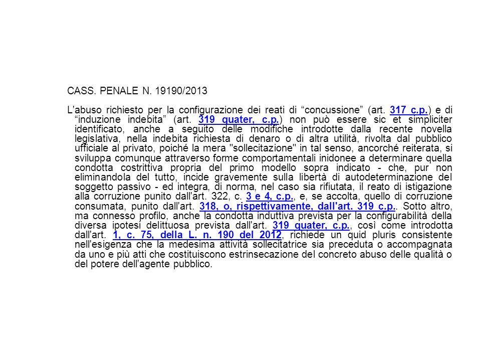 17/10/13 CASS. PENALE N. 19190/2013.