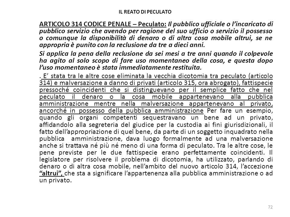 17/10/13 17/10/13. IL REATO DI PECULATO.