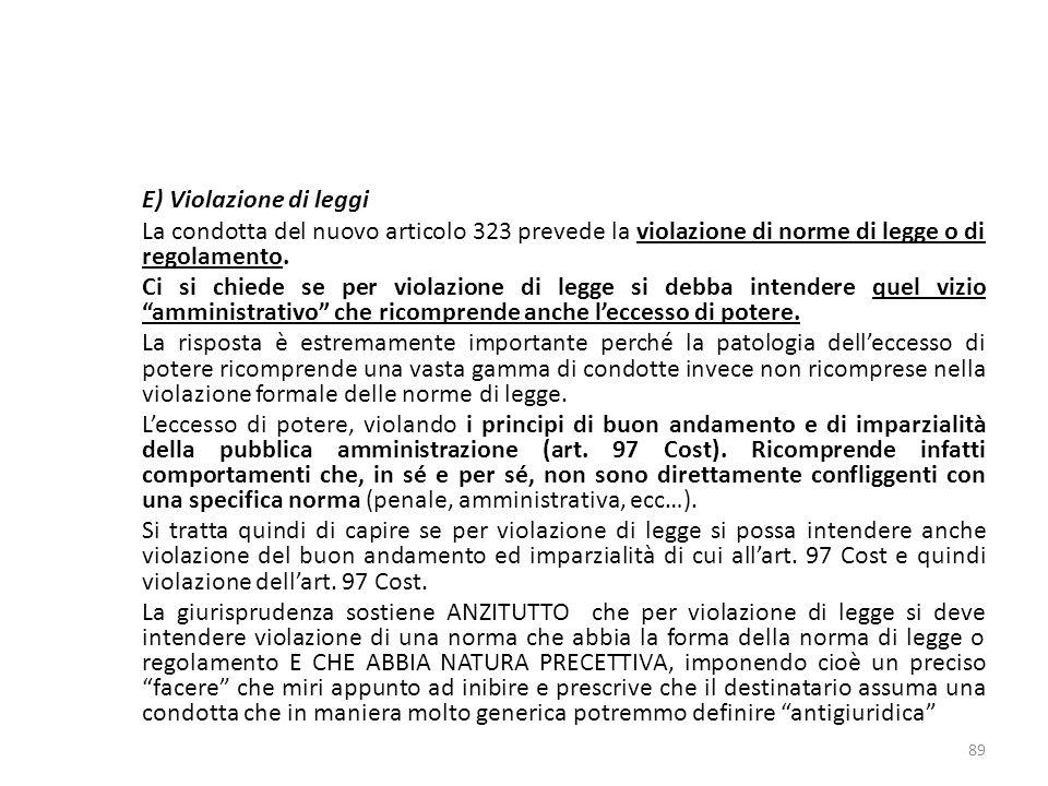17/10/13 17/10/13. E) Violazione di leggi. La condotta del nuovo articolo 323 prevede la violazione di norme di legge o di regolamento.