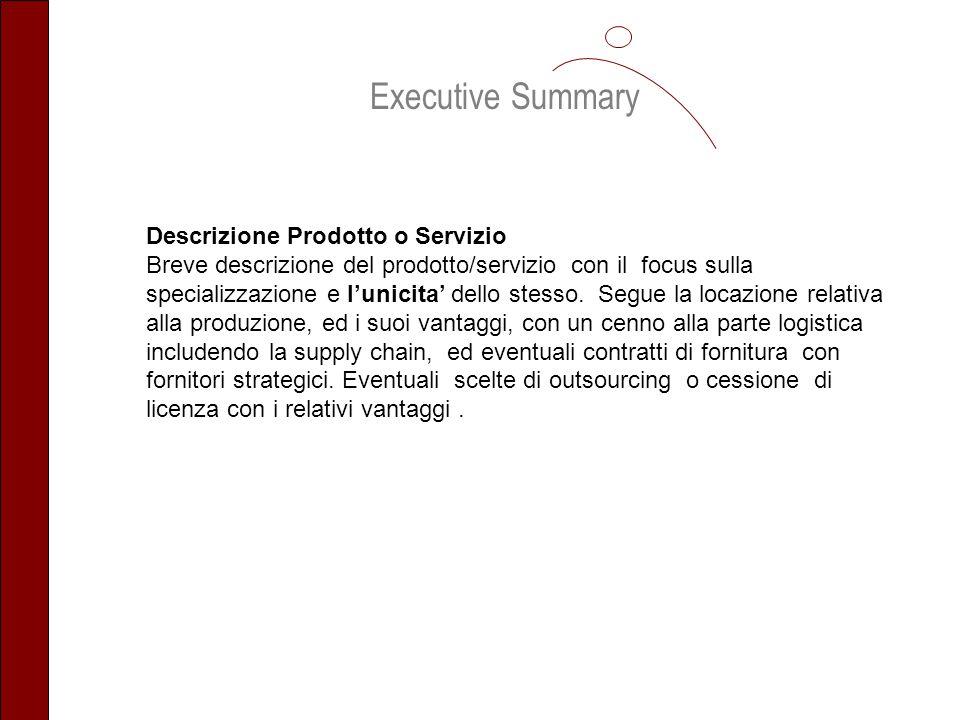 Executive Summary Descrizione Prodotto o Servizio