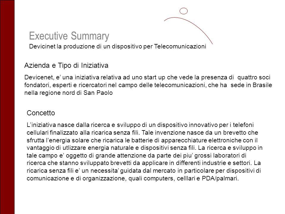 Executive Summary Devicinet la produzione di un dispositivo per Telecomunicazioni