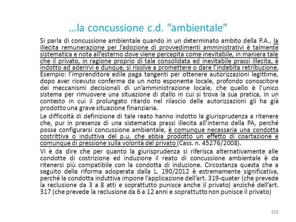 …la concussione c.d. ambientale