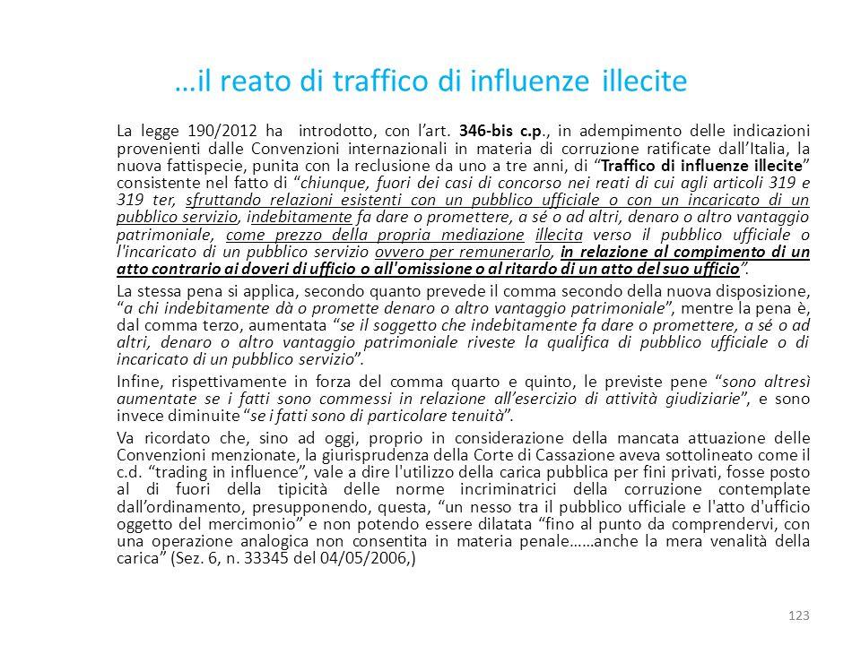 …il reato di traffico di influenze illecite