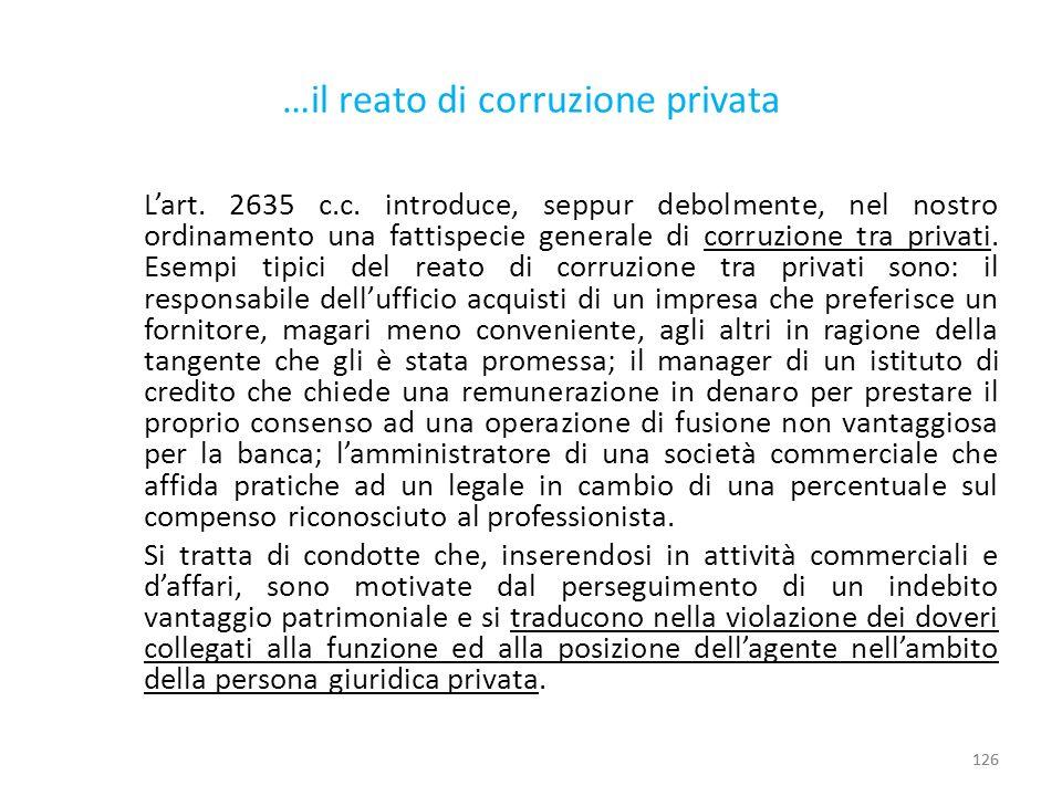 …il reato di corruzione privata