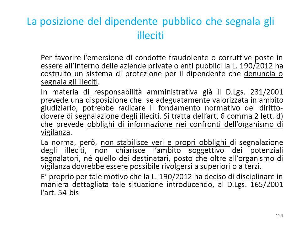 La posizione del dipendente pubblico che segnala gli illeciti