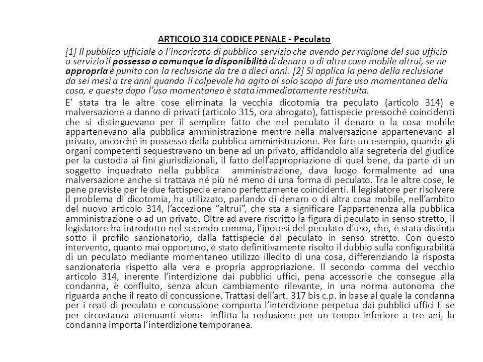 _ARTICOLO 314 CODICE PENALE - Peculato