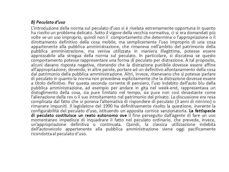25/06/13 25/06/13. B) Peculato d'uso.