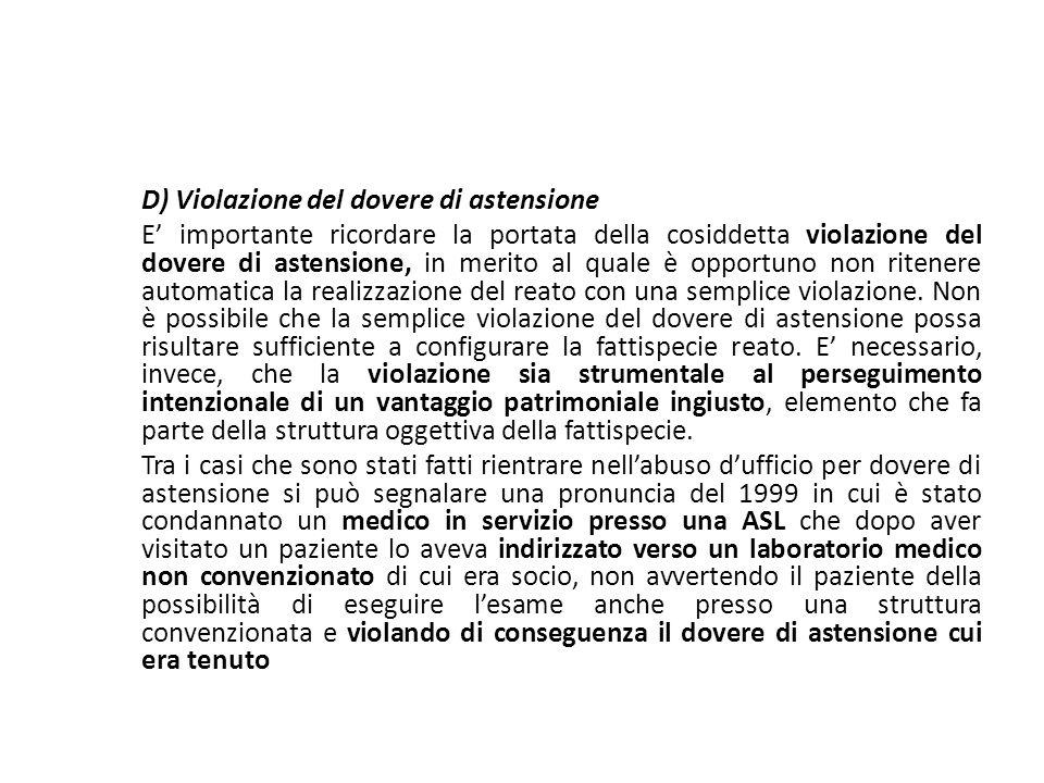 D) Violazione del dovere di astensione