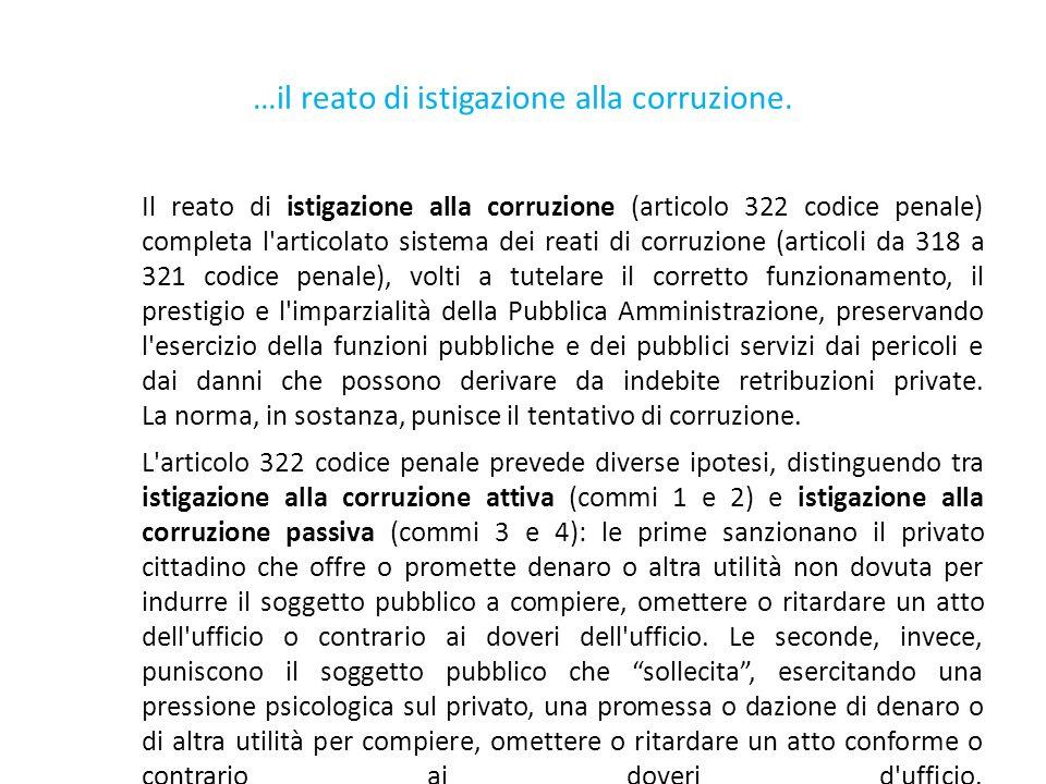 …il reato di istigazione alla corruzione.