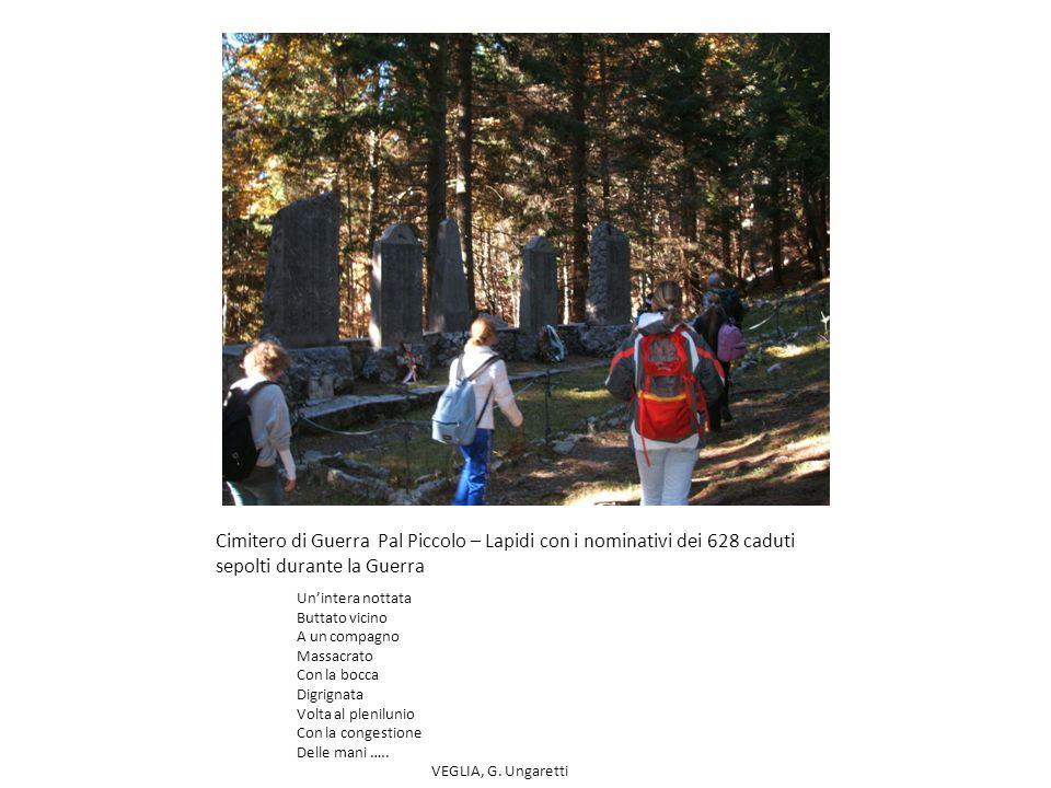 Cimitero di Guerra Pal Piccolo – Lapidi con i nominativi dei 628 caduti sepolti durante la Guerra