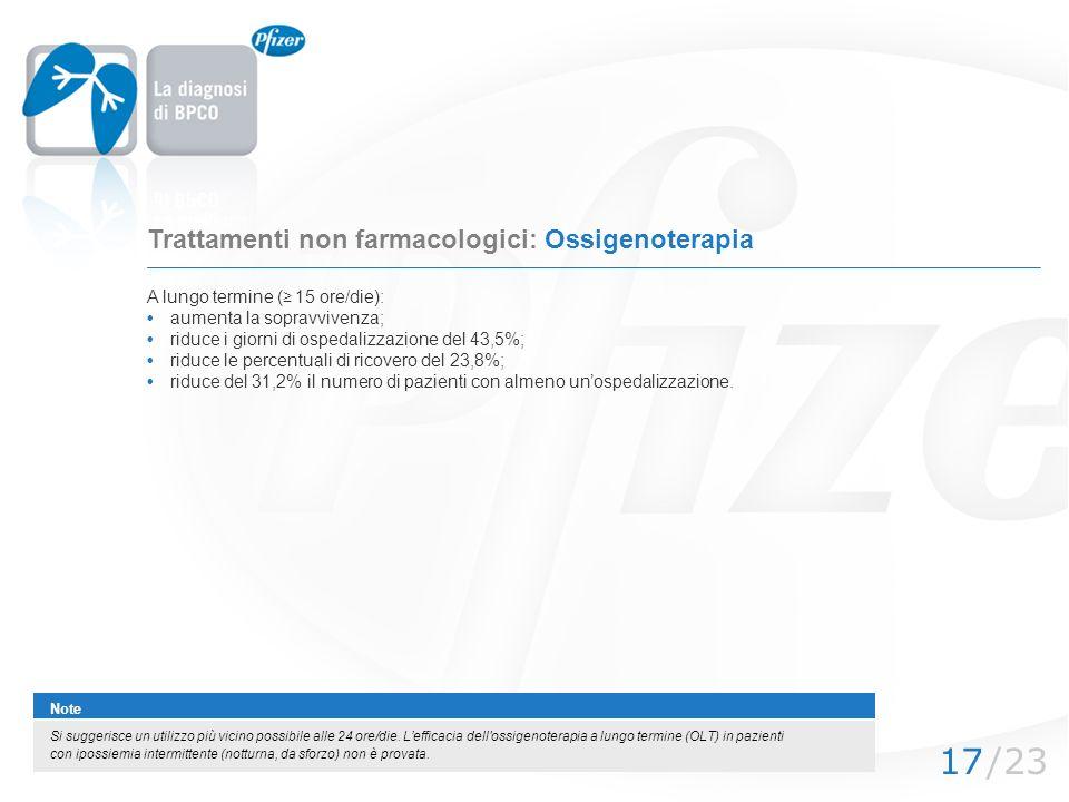 Trattamenti non farmacologici: Ossigenoterapia