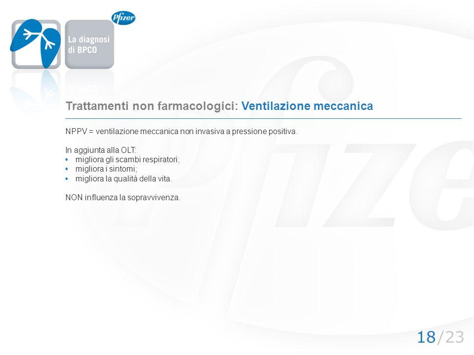 Trattamenti non farmacologici: Ventilazione meccanica