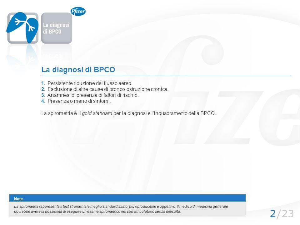 La diagnosi di BPCO 1. Persistente riduzione del flusso aereo.