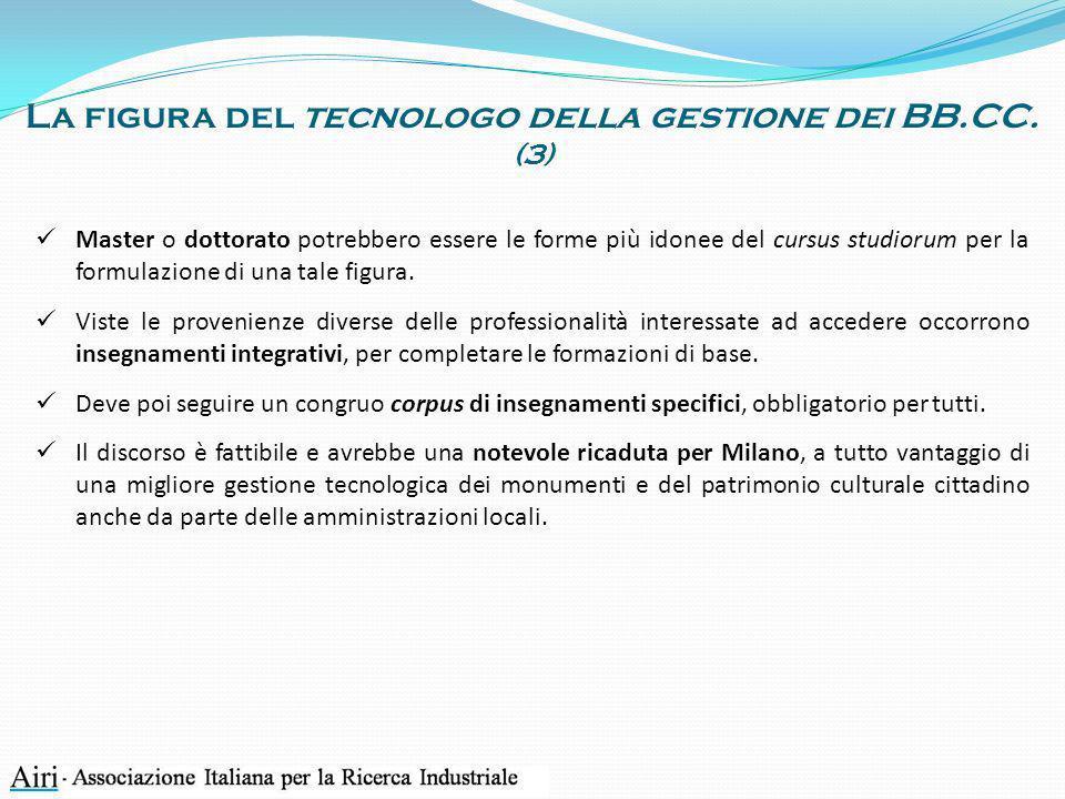 La figura del tecnologo della gestione dei BB.CC.