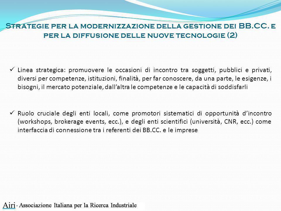 Strategie per la modernizzazione della gestione dei BB. CC