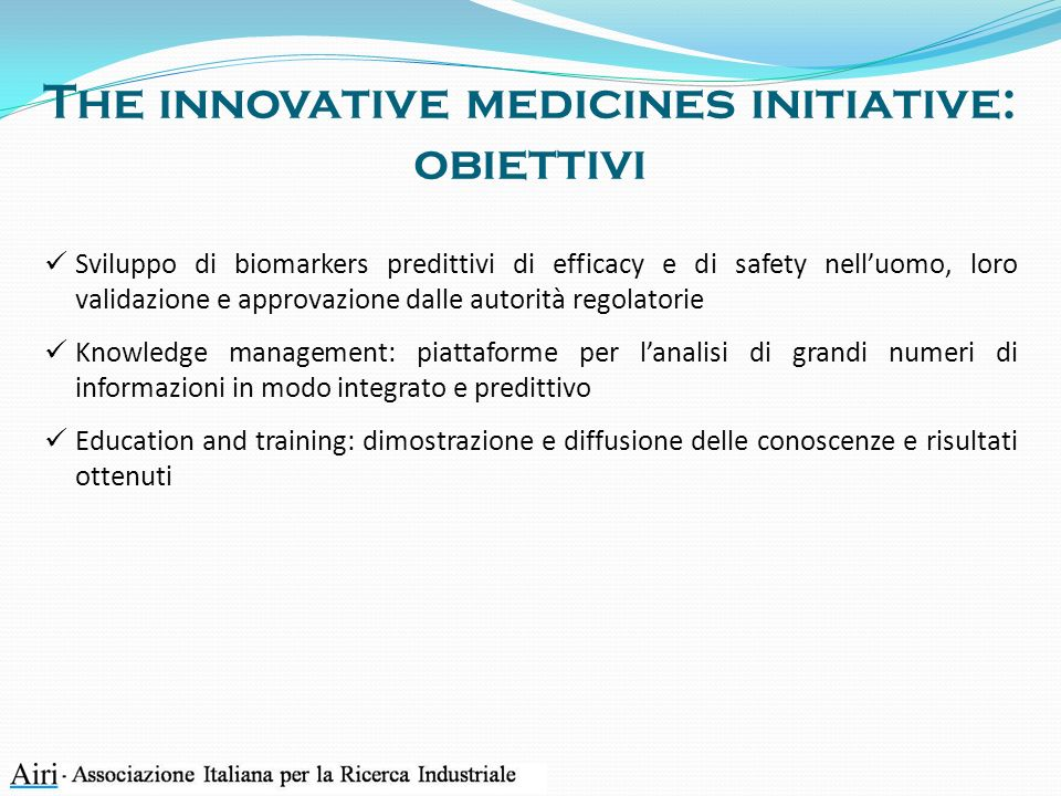 The innovative medicines initiative: obiettivi