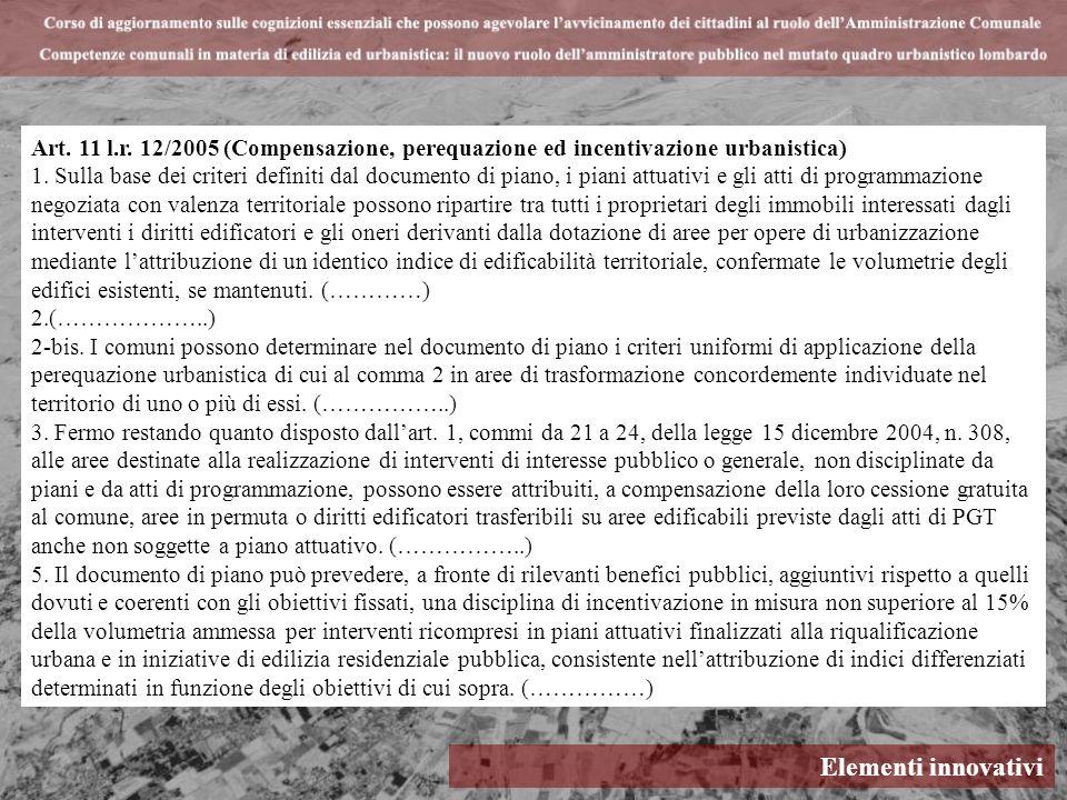 Art. 11 l.r. 12/2005 (Compensazione, perequazione ed incentivazione urbanistica)