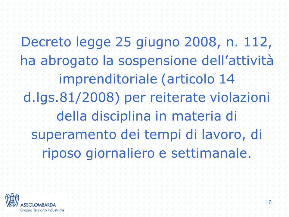 Decreto legge 25 giugno 2008, n.