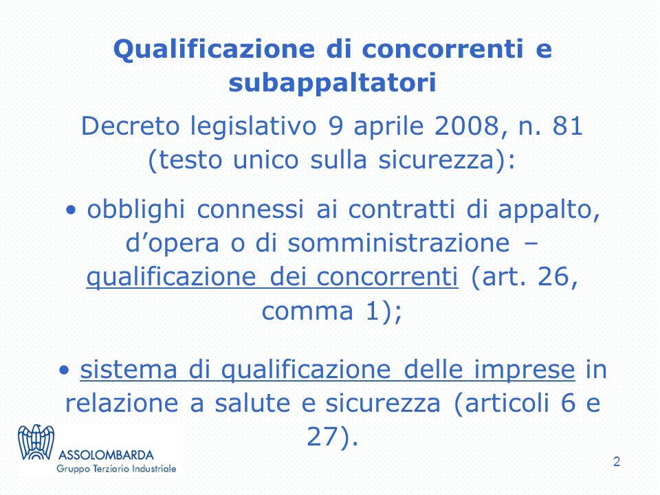 Qualificazione di concorrenti e subappaltatori