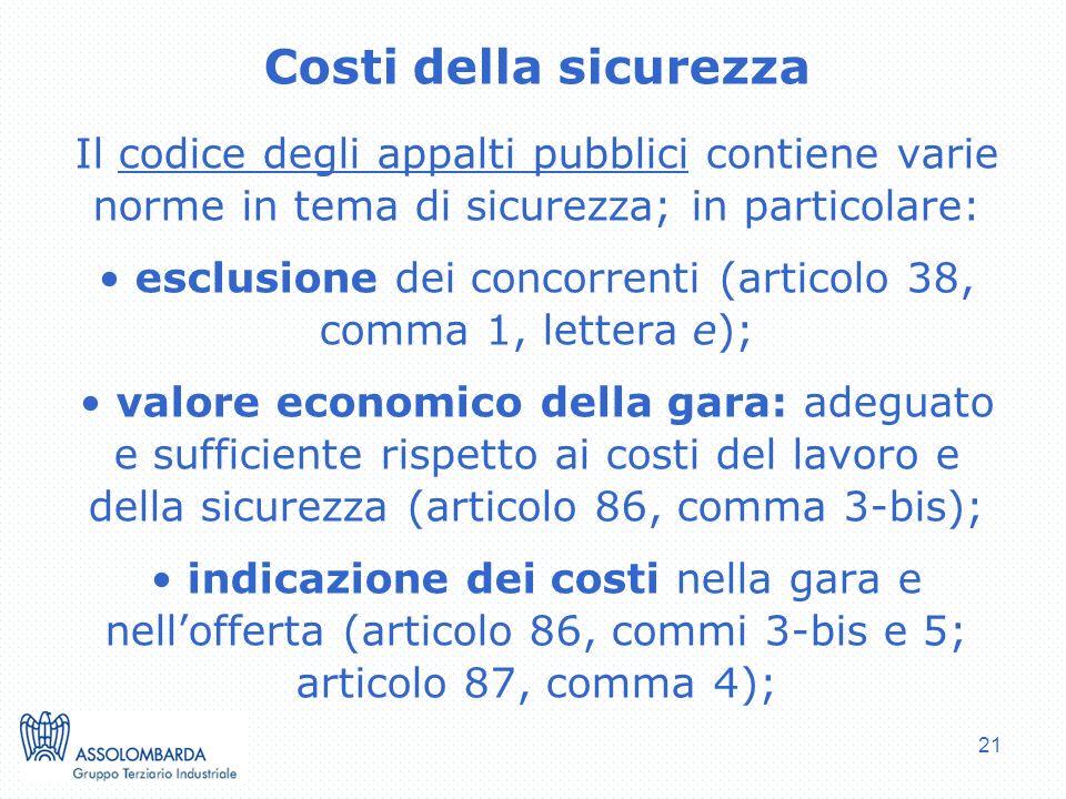esclusione dei concorrenti (articolo 38, comma 1, lettera e);