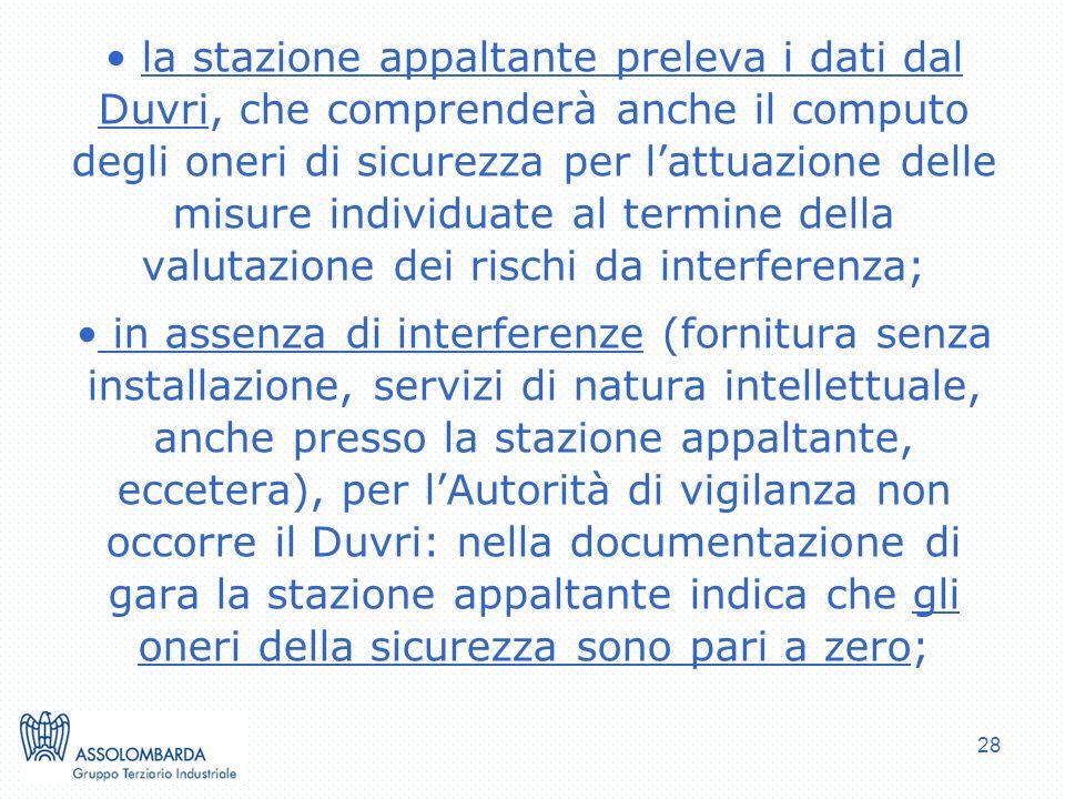 la stazione appaltante preleva i dati dal Duvri, che comprenderà anche il computo degli oneri di sicurezza per l'attuazione delle misure individuate al termine della valutazione dei rischi da interferenza;