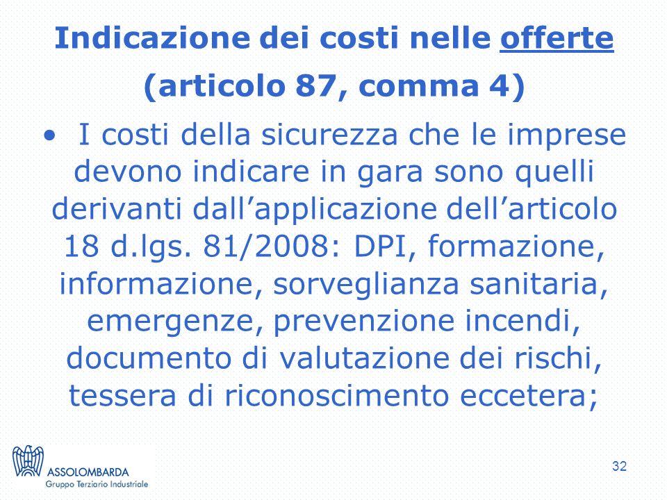 Indicazione dei costi nelle offerte
