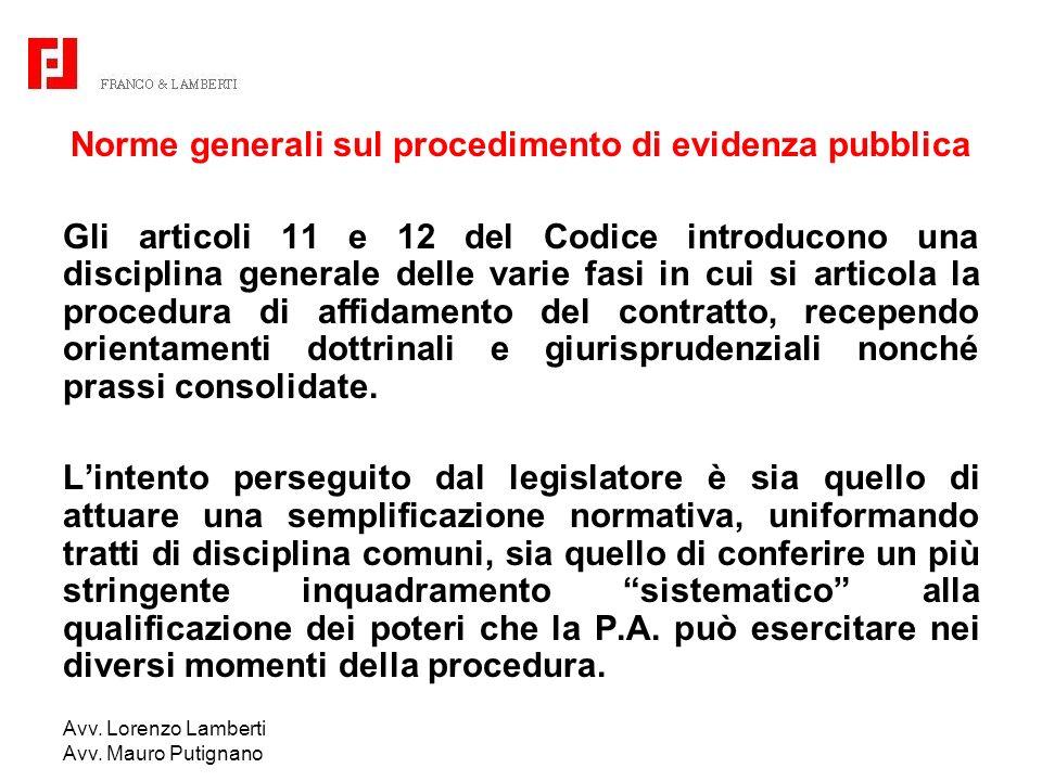 Norme generali sul procedimento di evidenza pubblica