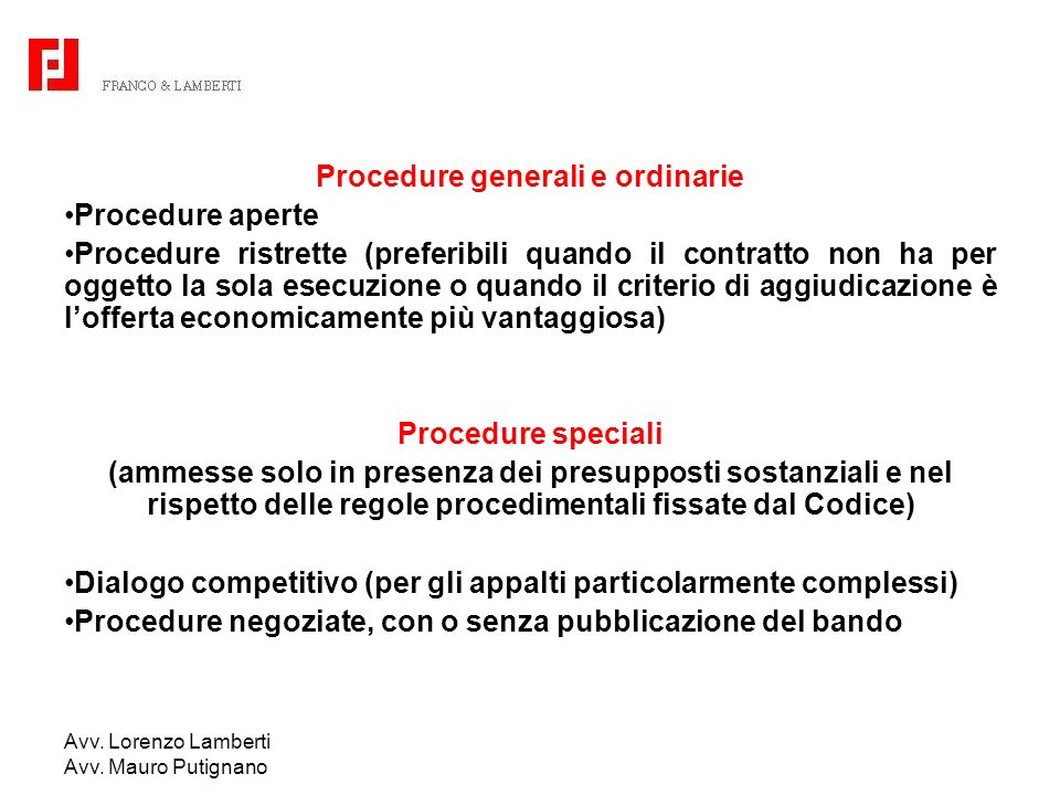 Procedure generali e ordinarie