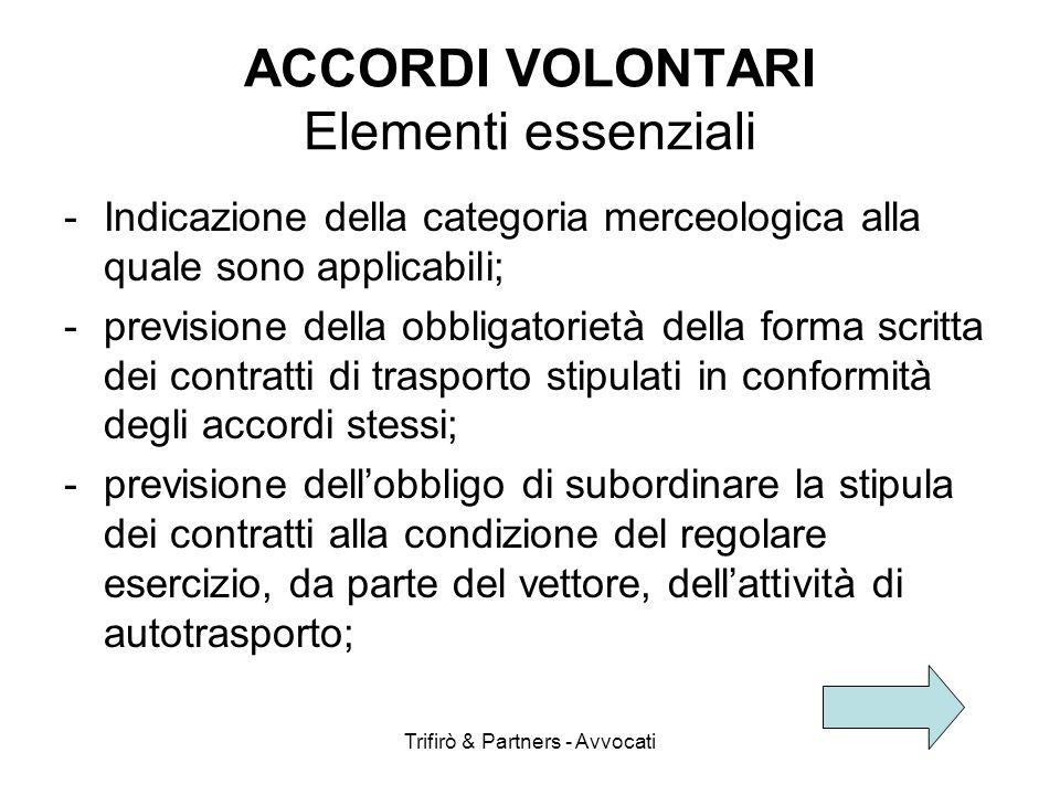 ACCORDI VOLONTARI Elementi essenziali