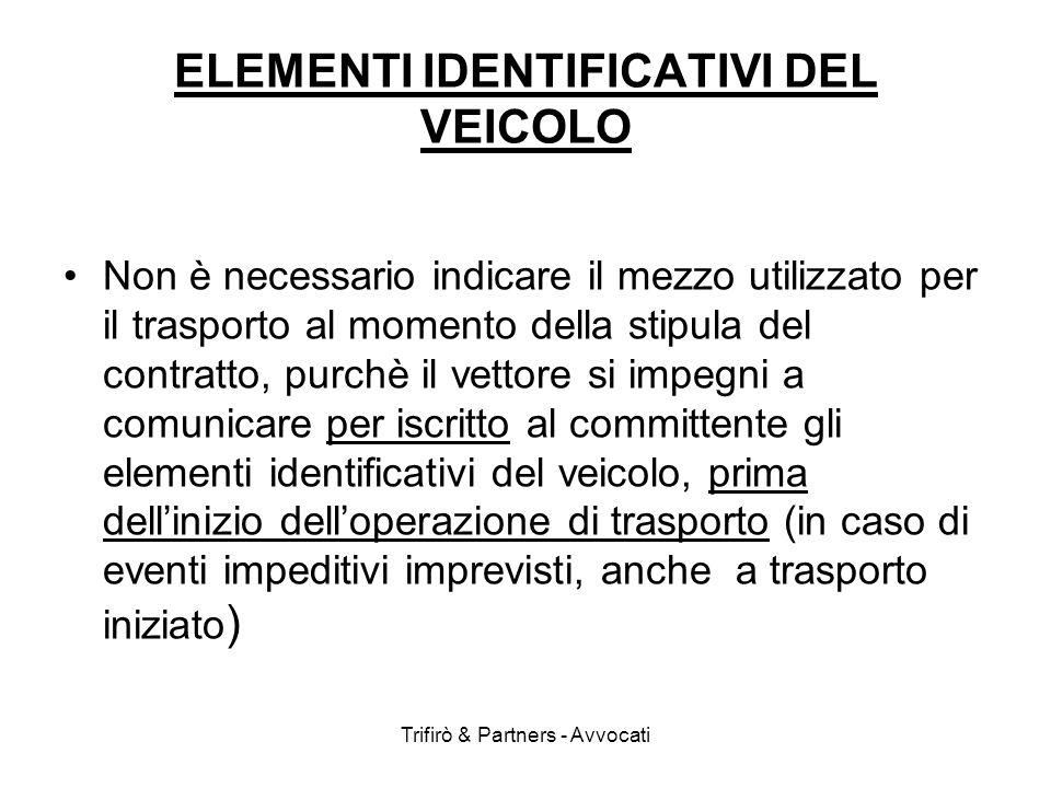 ELEMENTI IDENTIFICATIVI DEL VEICOLO