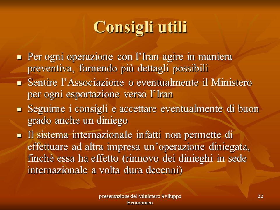presentazione del Ministero Sviluppo Economico
