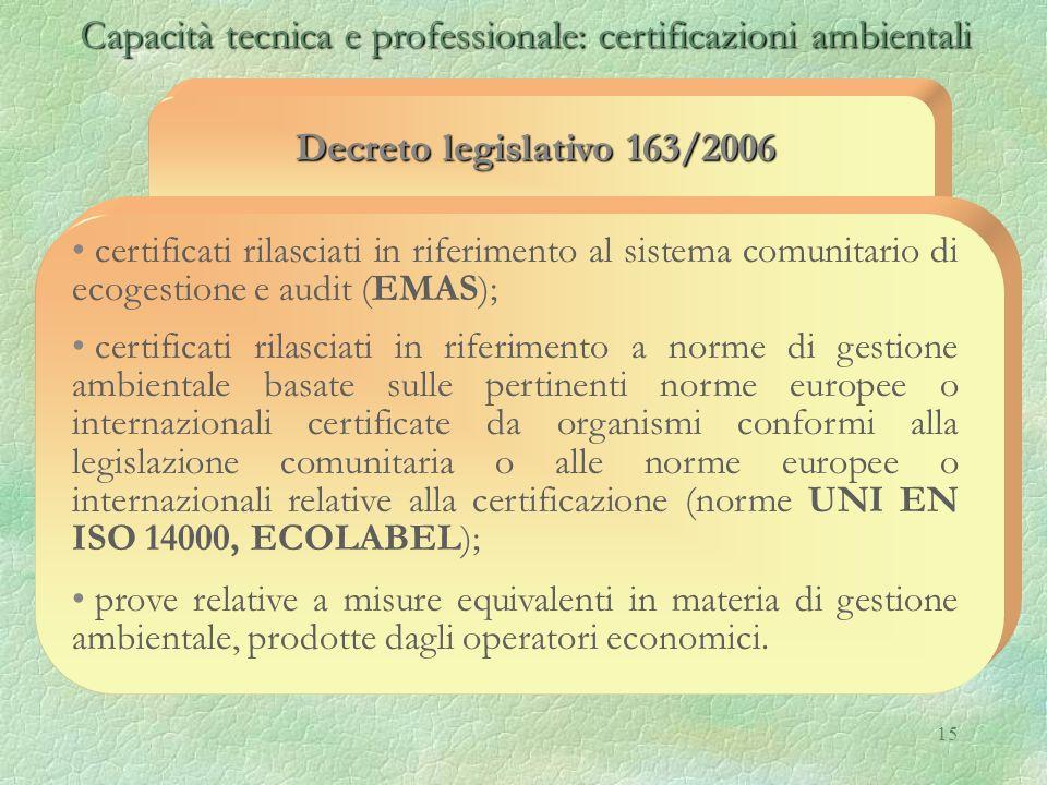 Capacità tecnica e professionale: certificazioni ambientali