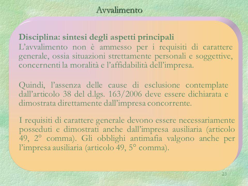 Avvalimento Disciplina: sintesi degli aspetti principali
