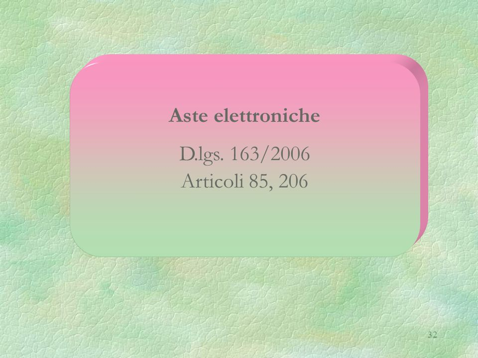 Aste elettroniche D.lgs. 163/2006 Articoli 85, 206