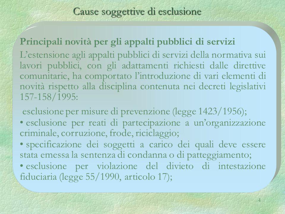 Cause soggettive di esclusione