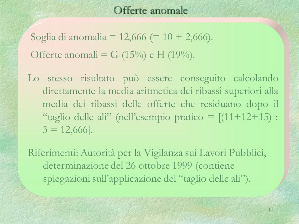 Offerte anomale Soglia di anomalia = 12,666 (= 10 + 2,666).
