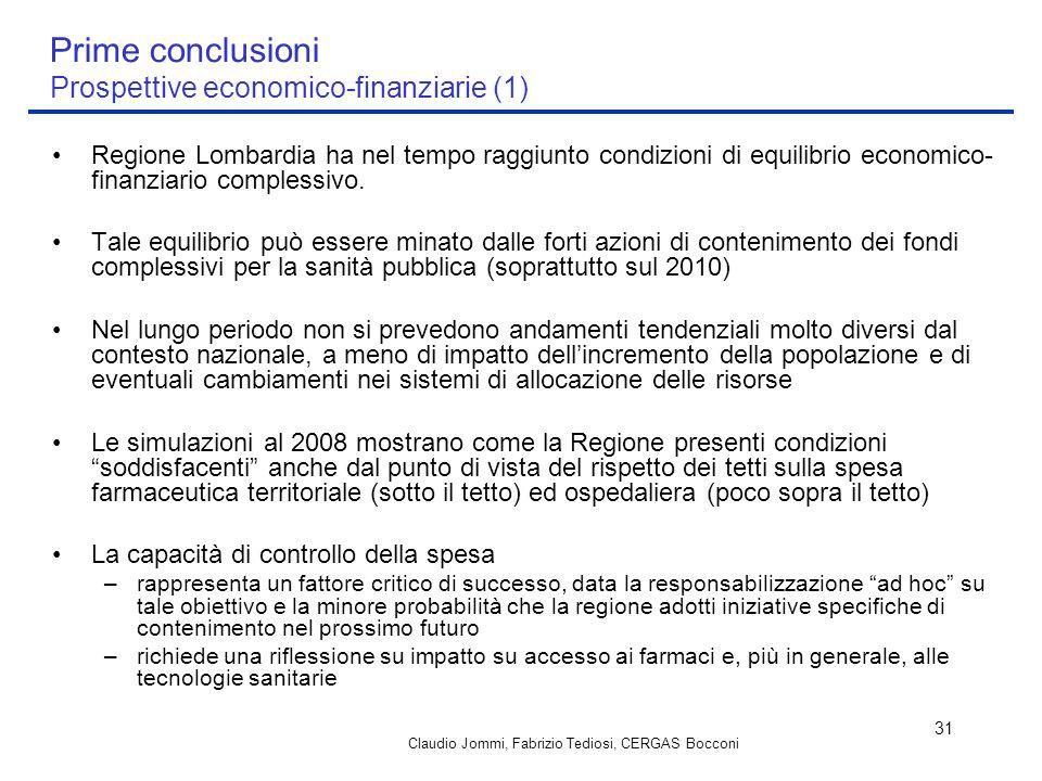 Prime conclusioni Prospettive economico-finanziarie (1)