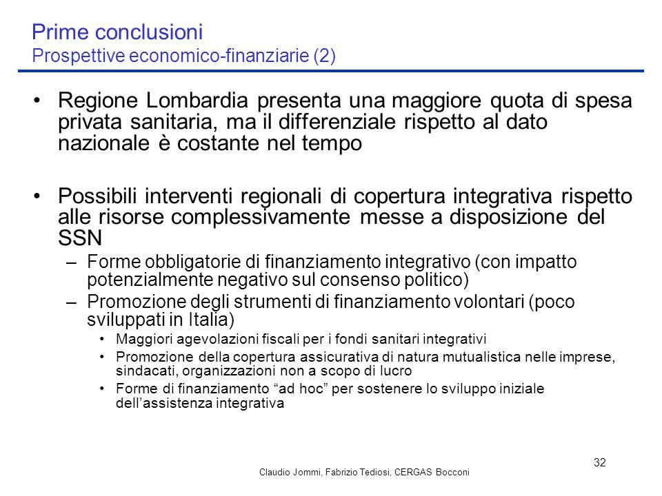 Prime conclusioni Prospettive economico-finanziarie (2)