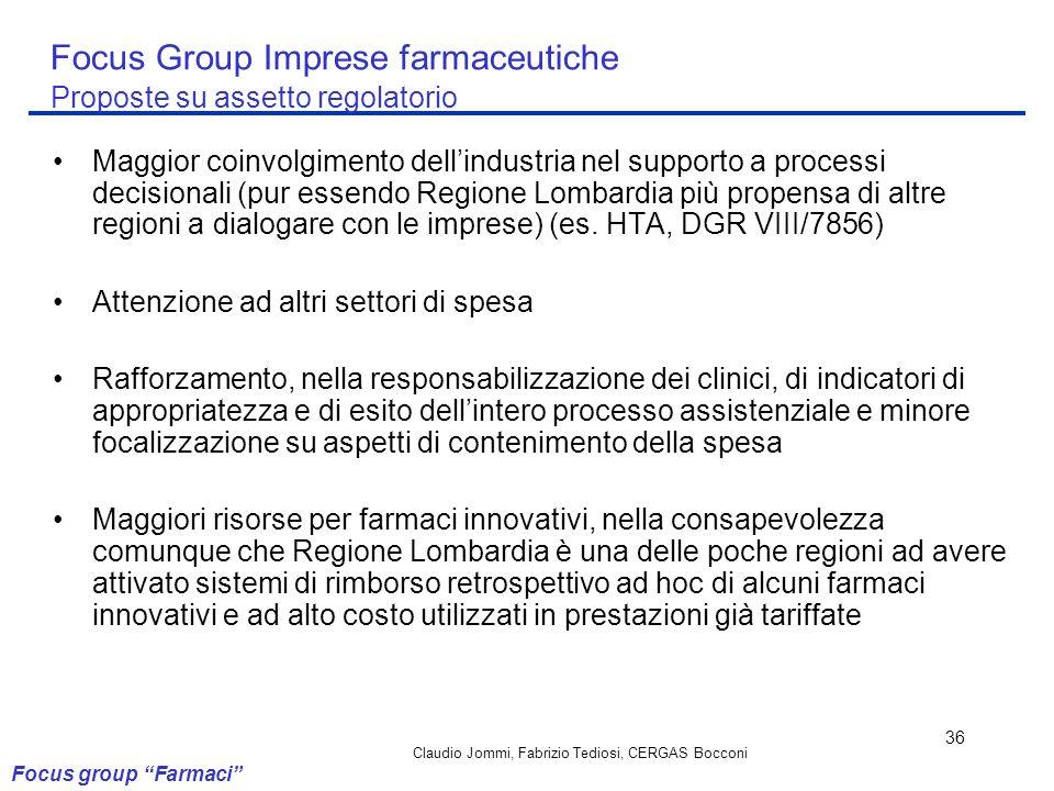 Focus Group Imprese farmaceutiche Proposte su assetto regolatorio