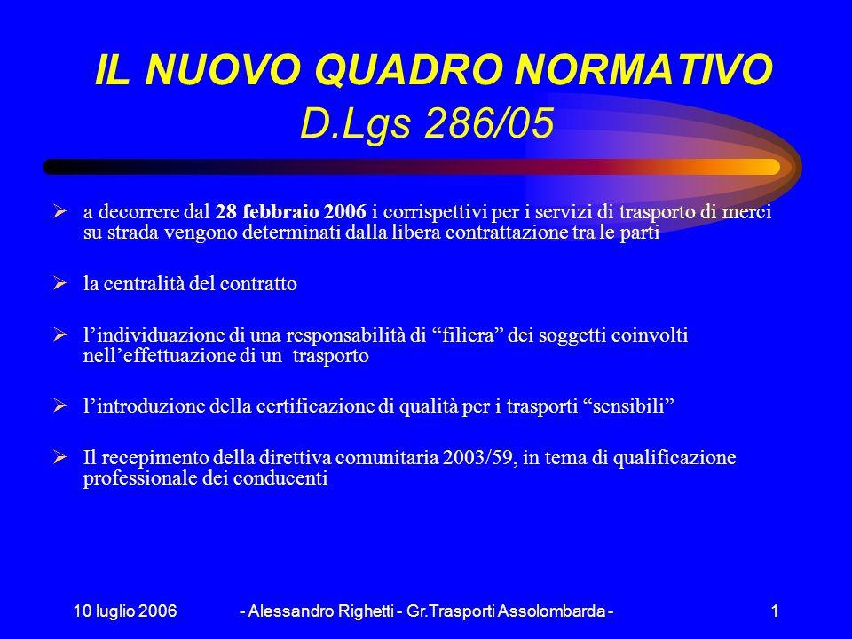 IL NUOVO QUADRO NORMATIVO D.Lgs 286/05