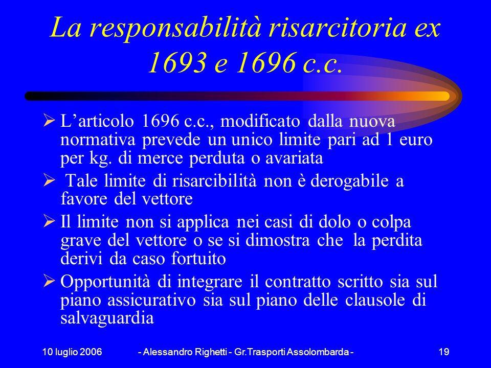 La responsabilità risarcitoria ex 1693 e 1696 c.c.