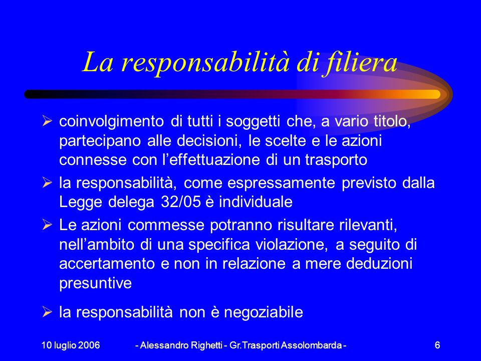 La responsabilità di filiera