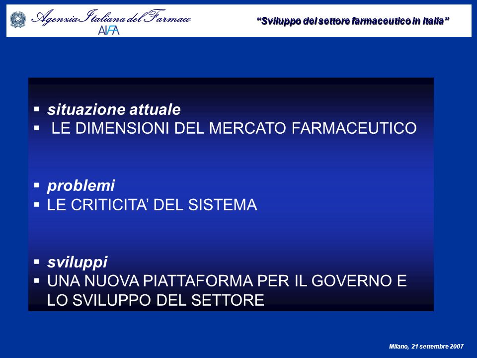 situazione attuale LE DIMENSIONI DEL MERCATO FARMACEUTICO. problemi. LE CRITICITA' DEL SISTEMA. sviluppi.